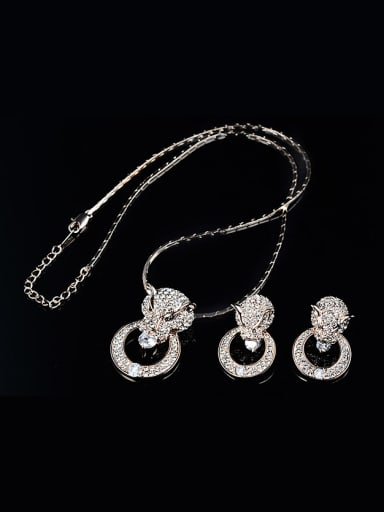 Alloy Rose Gold Plated Fashion Rhinestones Leopard Head Two Pieces CZ Jewelry Set