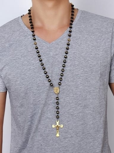 Religion Style Gold Plated Silicone Cross Shaped Sweater Chain