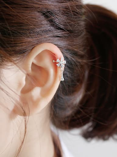 925 Sterling Silver With Platinum Plated Cubic Zirconia Flower Clip On Earrings