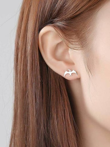 925 Sterling Silver With Smooth Simplistic Little Swallow Stud Earrings
