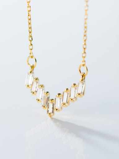 925 Sterling Silver With Cubic Zirconia Simplistic Geometric Necklaces