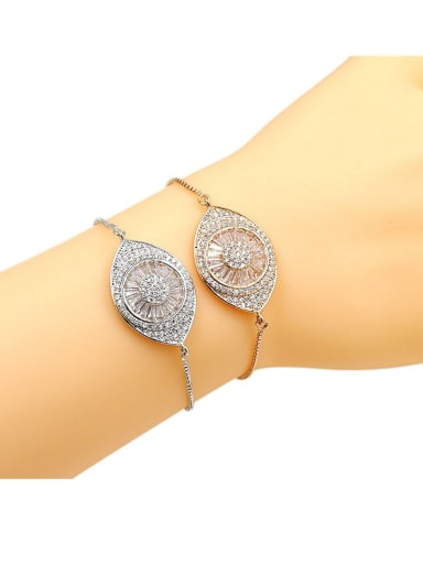 Copper With Cubic Zirconia  Personality Evil Eye adjustable Bracelets