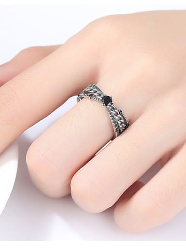 925 Sterling Silver With Antique Silver Plated Smear Free Size Rings