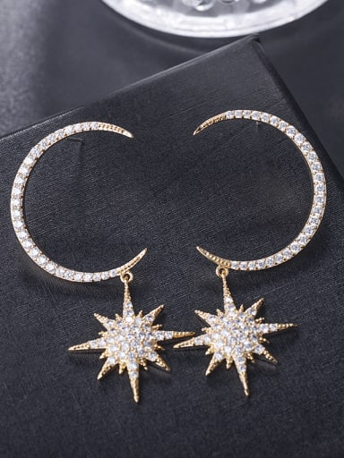 New exaggerated big circle moon and Star Earrings