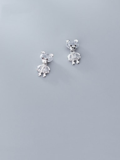 925 Sterling Silver With Platinum Plated Cute Bear Stud Earrings