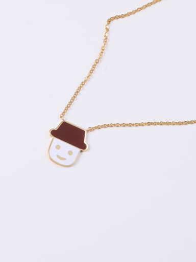 Titanium With Gold Plated Cute Doll Ice Cream  Necklaces