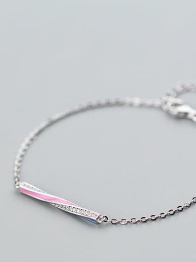 Pure silver zircon dripping oil craft Blue Pink Bracelet / ring