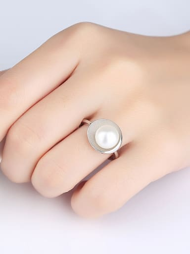 Sterling Silver 9-9.5mm natural pearl free size ring