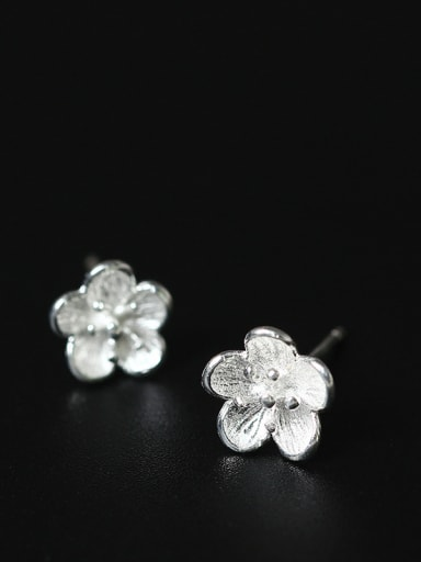 Silver Plated Small Flower Shaped stud Earring