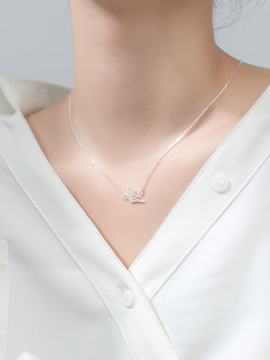 925 Sterling Silver With Platinum Plated Simplistic Paper Crane Necklaces
