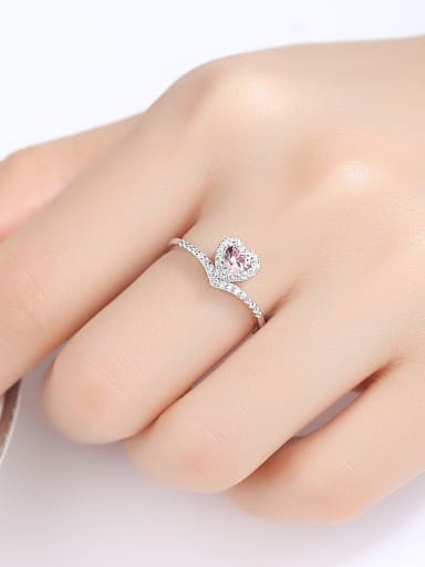 925 Sterling Silver With Platinum Plated Delicate Heart Band Rings