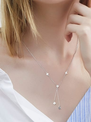 Simple Tiny Clover Lock Silver Necklace
