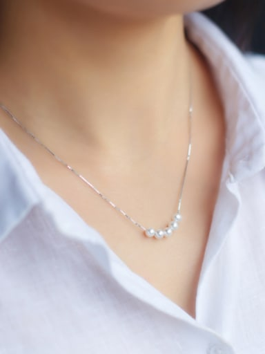 S925 Silver Fashion Sweet Pearl Short Necklace