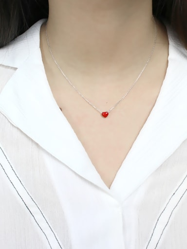 Simple Red Little Heart Silver Necklace