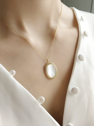 Pure Silver 18k-gold Oval Shell Necklace