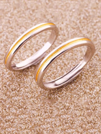 925 Sterling Silver With Two-color plating Simplistic Fringe Lovers Free Size Rings