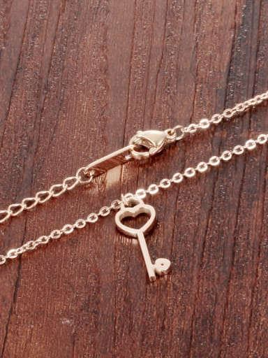 Simple Heart Key Pendant Rose Gold Plated Necklace