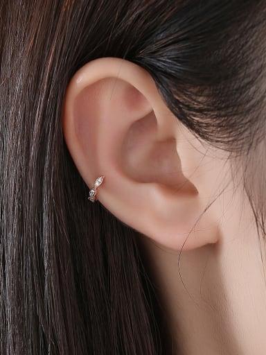 Copper With Cubic Zirconia Delicate Irregular Unilateral ear bone clip Stud Earrings