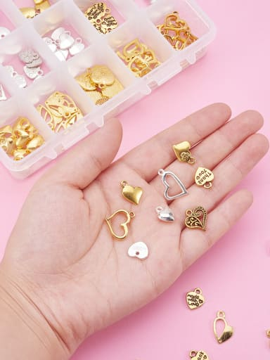 Alloy With Gold Plated Class Heart Charms