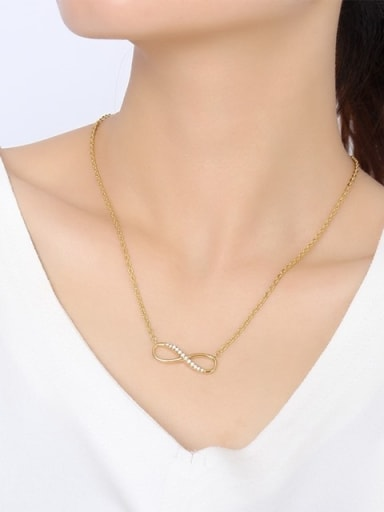 All-match Gold Plated Number Eight Shaped Zircon Necklace