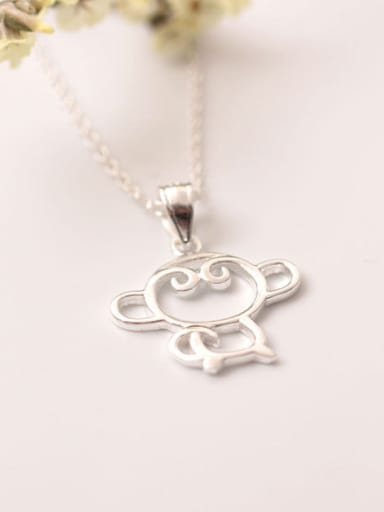 Lovely Monkey Silver Clavicle Necklace