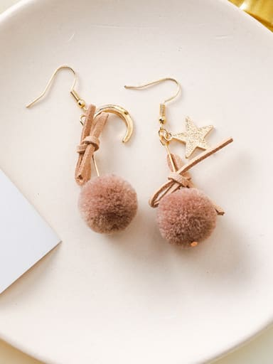 Alloy With Rose Gold Plated Cute Round  HairballHook Earrings