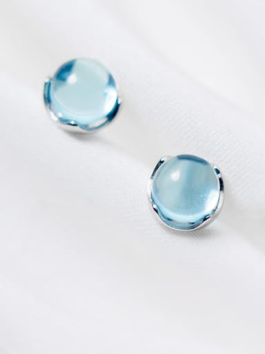 Pure silver simple blue single crystal ear nail