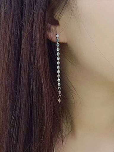 Simple Tiny Rounds Tassel Silver Stud Earrings
