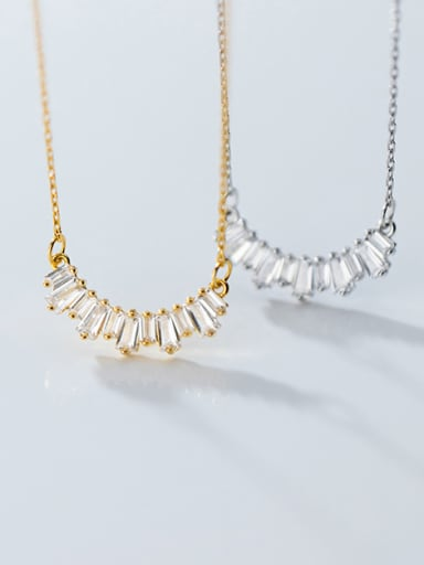 925 Sterling Silver With Gold Plated Simplistic Geometric Necklaces