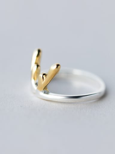 Christmas jewelry:  Sterling Silver Gold Antlers free size Ring