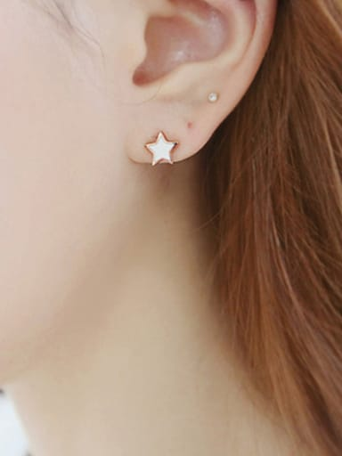 Simple Little Star Tiny Zirconias Black Glue Silver Stud Earrings