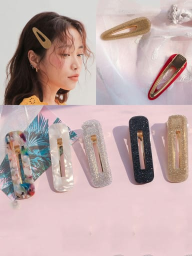 Alloy With Cellulose Acetate  Fashion Acrylic Water Droplet Square  Barrettes & Clips