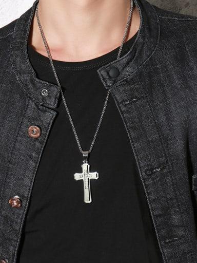 Retro Gold Plated Cross Shaped Rhinestone Titanium Necklace