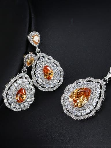 Luxury Color Zircon Three Pieces Jewelry Set