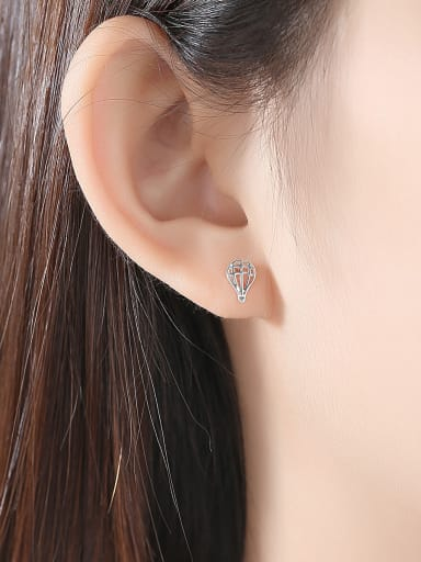 925 Sterling Silver With Gold Plated Simplistic badminton  Stud Earrings