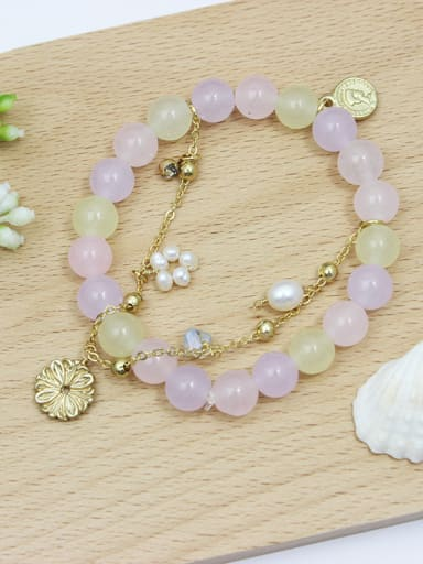 Elegant Flower Shaped Natural Stones Bracelet