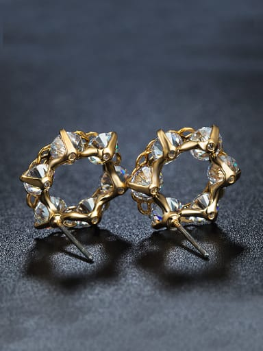 Fashion Gold Plated Zircon Stud Earrings