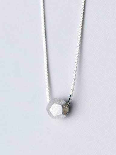 S925 Silver Necklace Pendant simple geometric polygon wire drawing Necklace Chain D4290