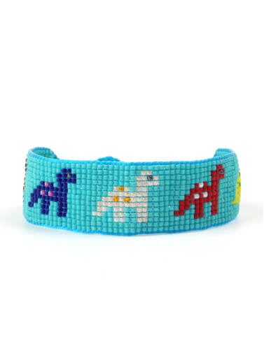 Dinosaur Pattern Handmade Woven Glass Beads Bracelet