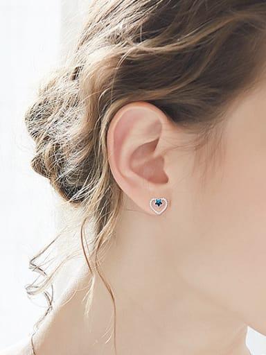 Fashion Hollow Heart Little Star Swarovski Crystals 925 Silver Stud Earrings