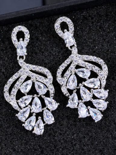 Flower shaped Shining AAA Zircons Fashion Drop Earrings