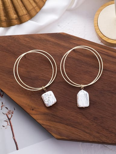 Alloy With 18k Gold Plated Trendy Geometric Shell Hoop Earrings