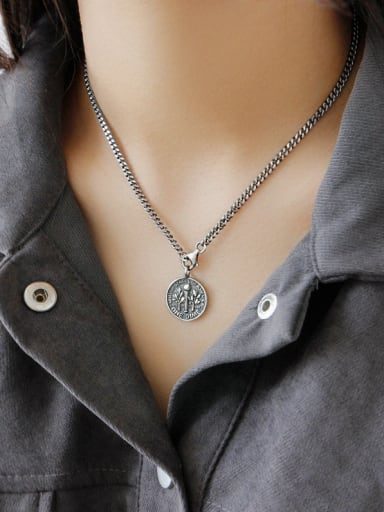925 Sterling Silver With Antique Silver Plated Vintage Smiley Face  Necklaces