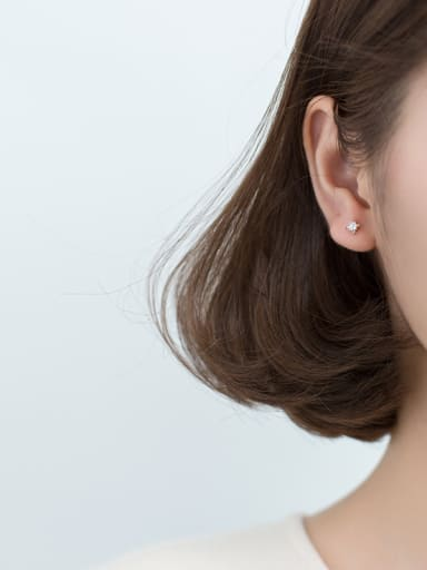 925 Sterling Silver With 18k Gold Plated Cute Flower MINI Stud Earrings
