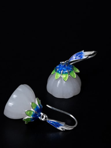 Ethnic style White Jade Lotus Seedpod 925 Silver Earrings