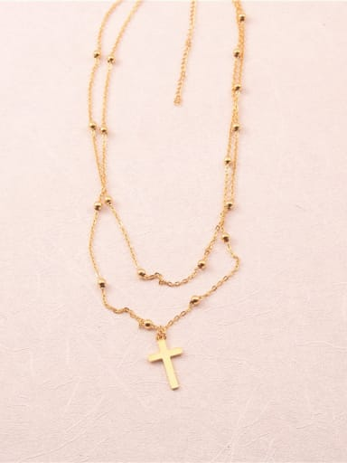 Titanium With Gold Plated Vintage Cross Multi Strand Necklaces