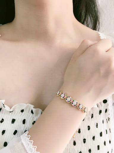 Copper With  Cubic Zirconia Trendy Round Bracelets