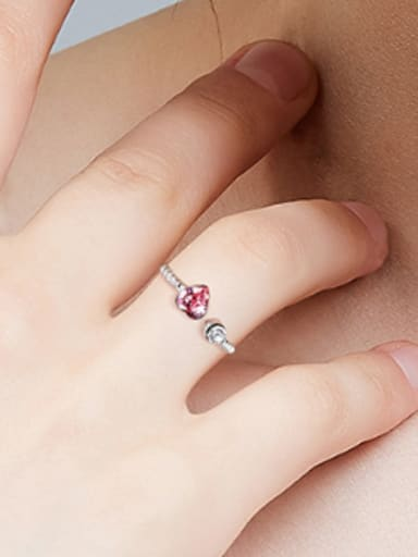 Fashion Little Heart Swarovski Crystal 925 Silver Opening Ring