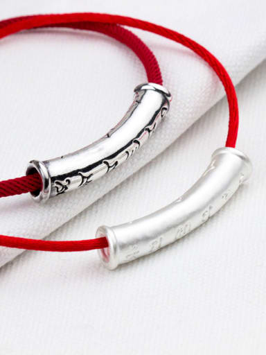 999 Fine Silver With Silver Plated Six words Curved sleeve Bent Pipe