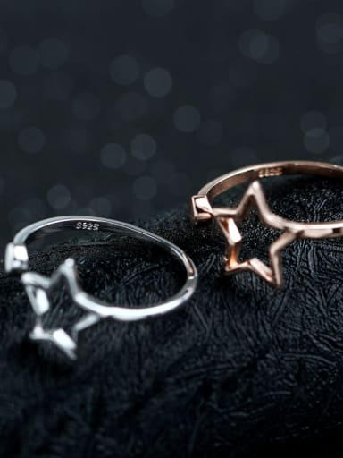 Hollow Star S925 Silver Simple Opening Ring